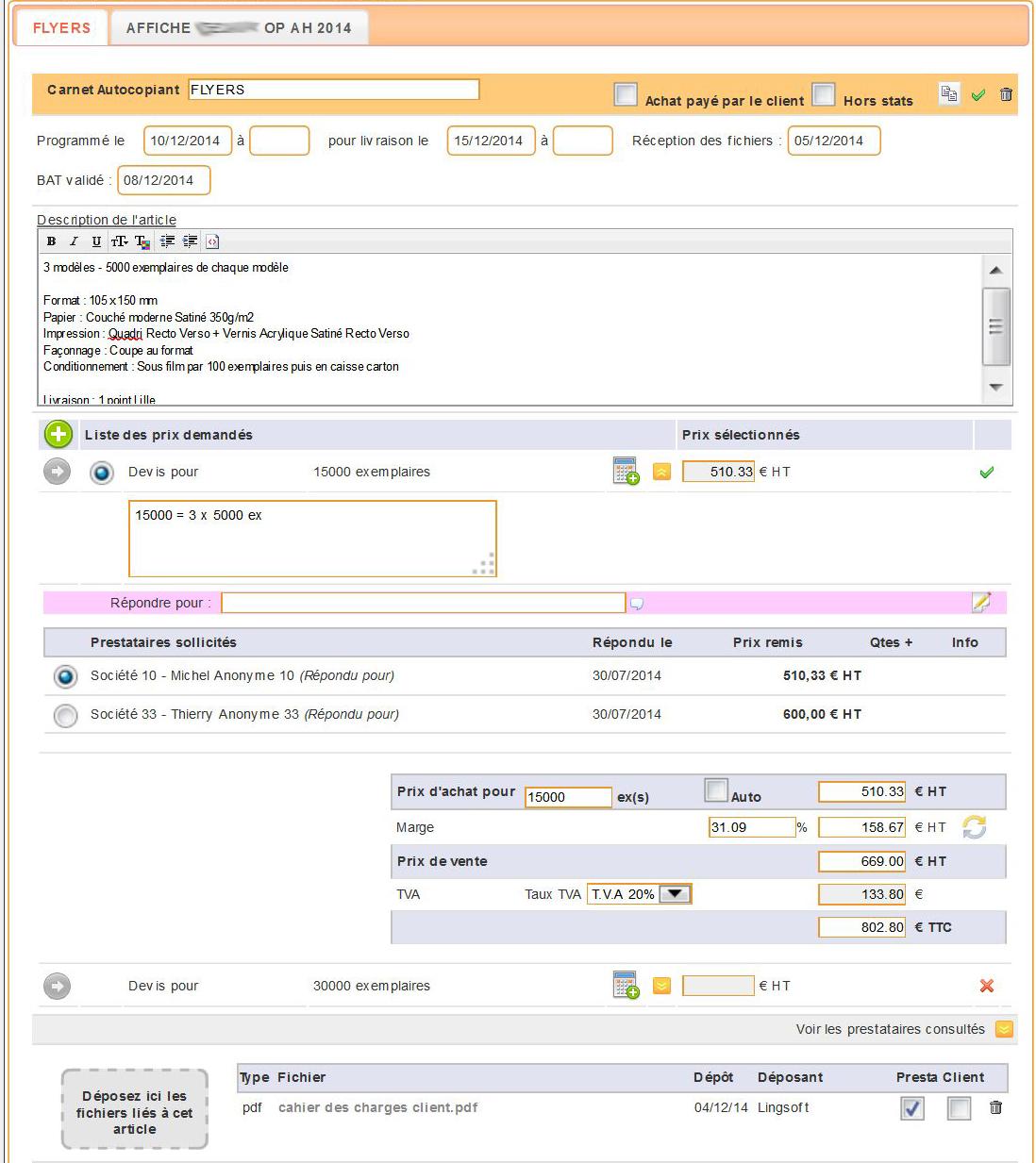 Outil de gestion de proposition fournisseurs spécial agences de communication
