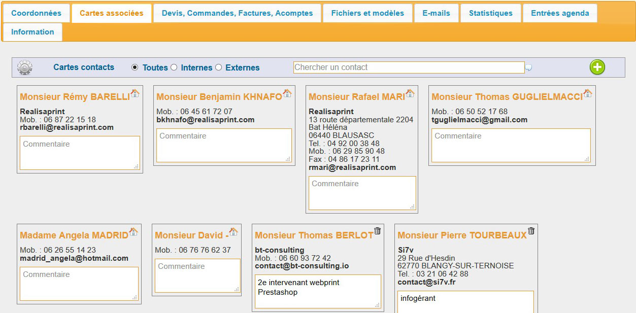 Annuaire, CRM et gestion clients - interface de gestion des contacts d'une entreprise