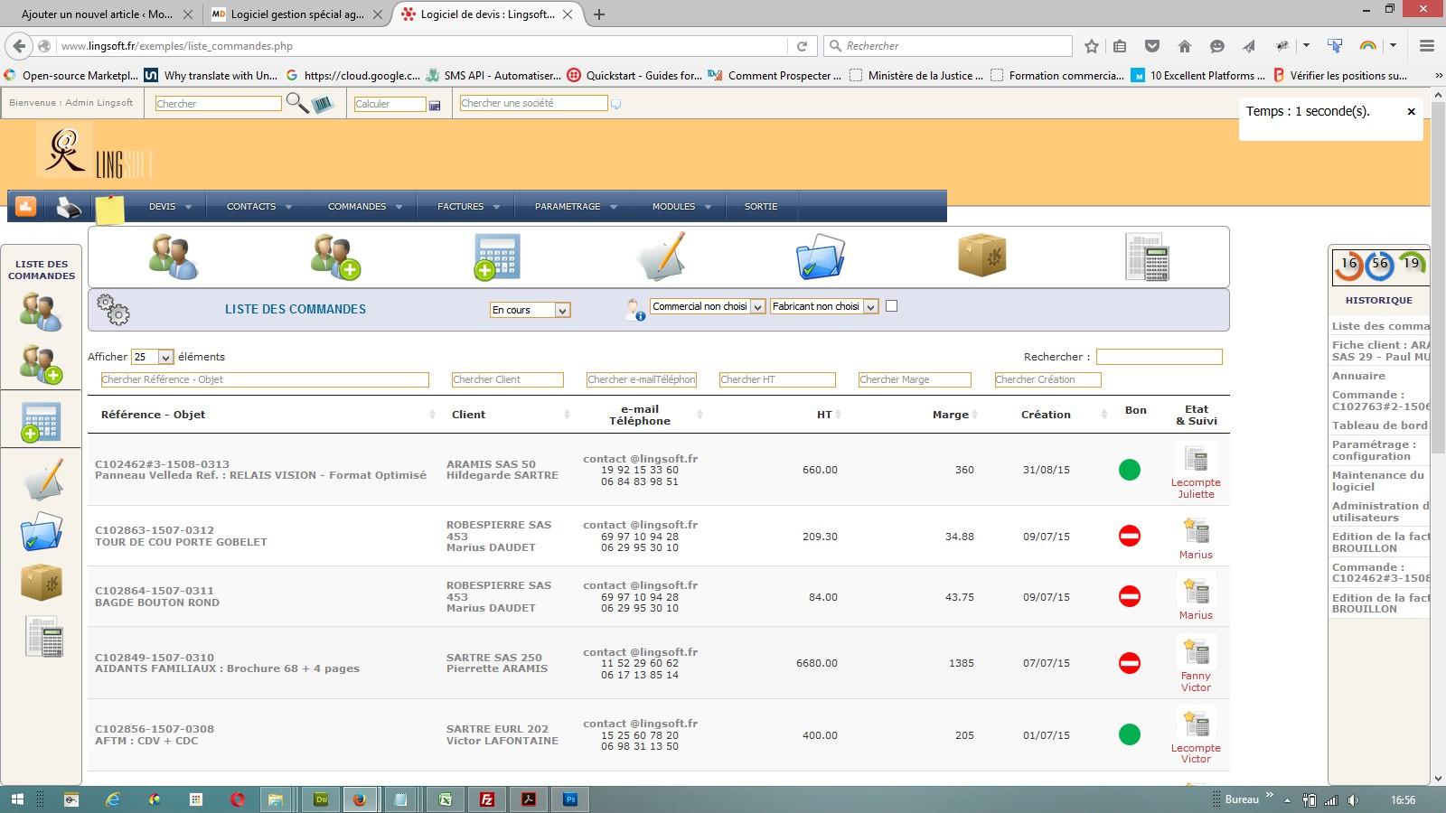interface de gestion des commandes