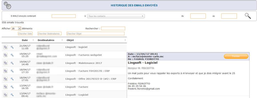 Outils de gestion - historique-des-mails-envoyes