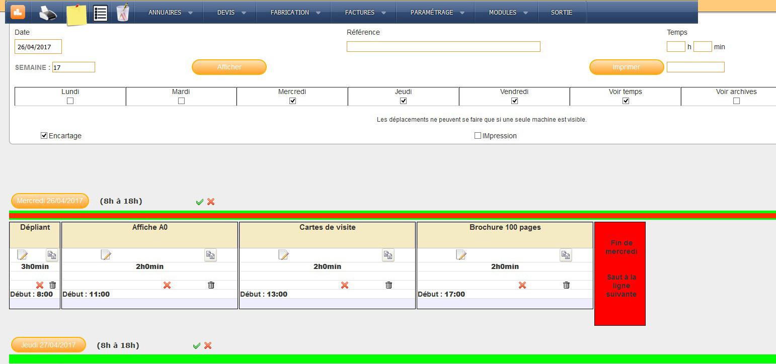 planning de production journalier pour imprimerie numérique