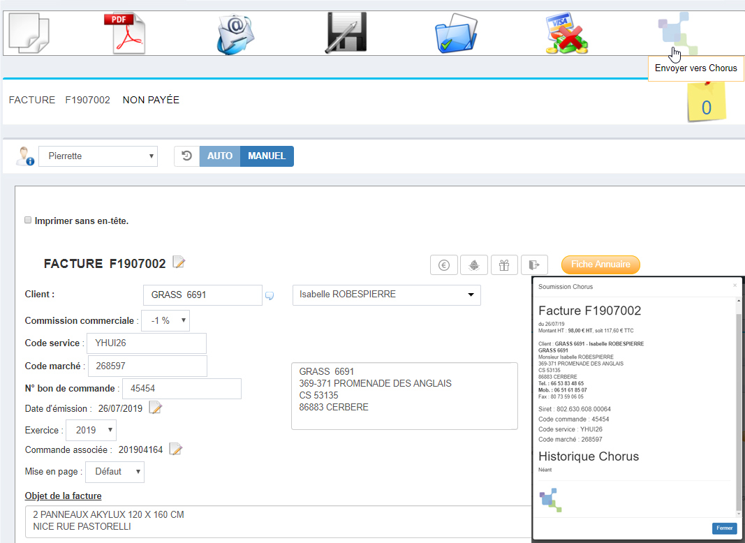 Facture en cours de rédaction, avec son code service, son numéro de commande, prête à être envoyée à Chorus pro en cliquant en haut à droite. Un popin s'affiche pour la soumission au serveur Chorus pro. Mondeviseur, ERP - logiciel de gestion des imprimeurs numériques, offset et grand format