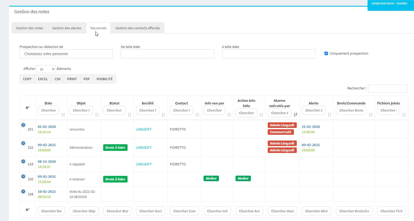 CRM MonDeviseur-Tableaux récapitulatifs de vos notes et alertes