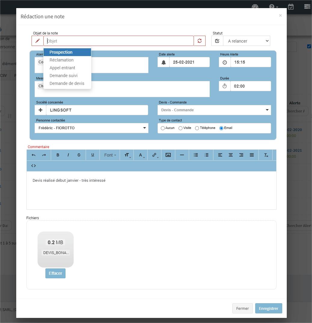 CRM-MonDeviseur-ajout d'une note d'information ou d'alerte à tout moment