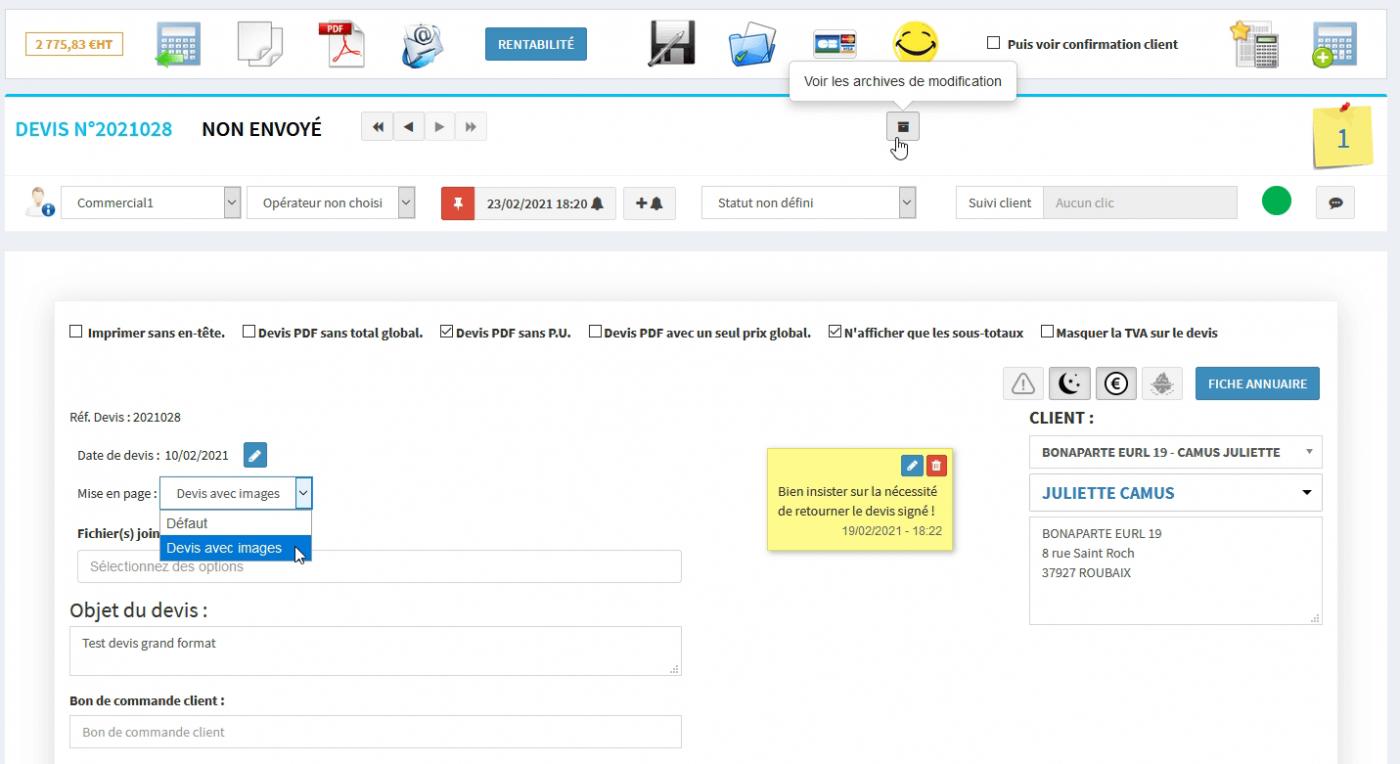 CRM - Mondeviseur : multi édition des devis pdf