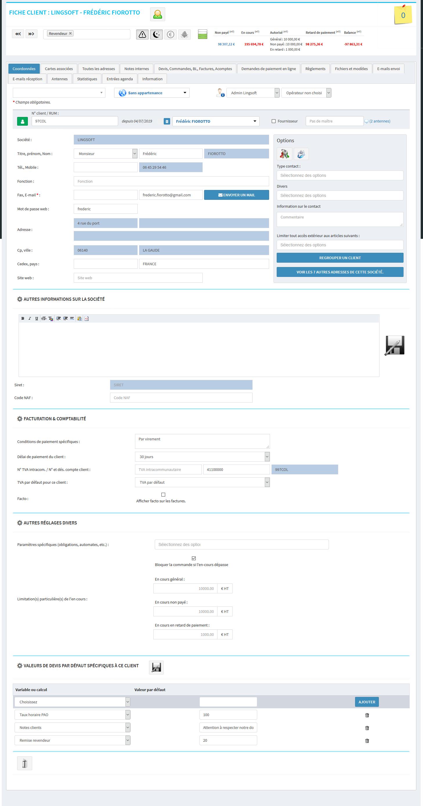 CRM - MonDeviseur - Fiche client multi contacts - gestion comptable