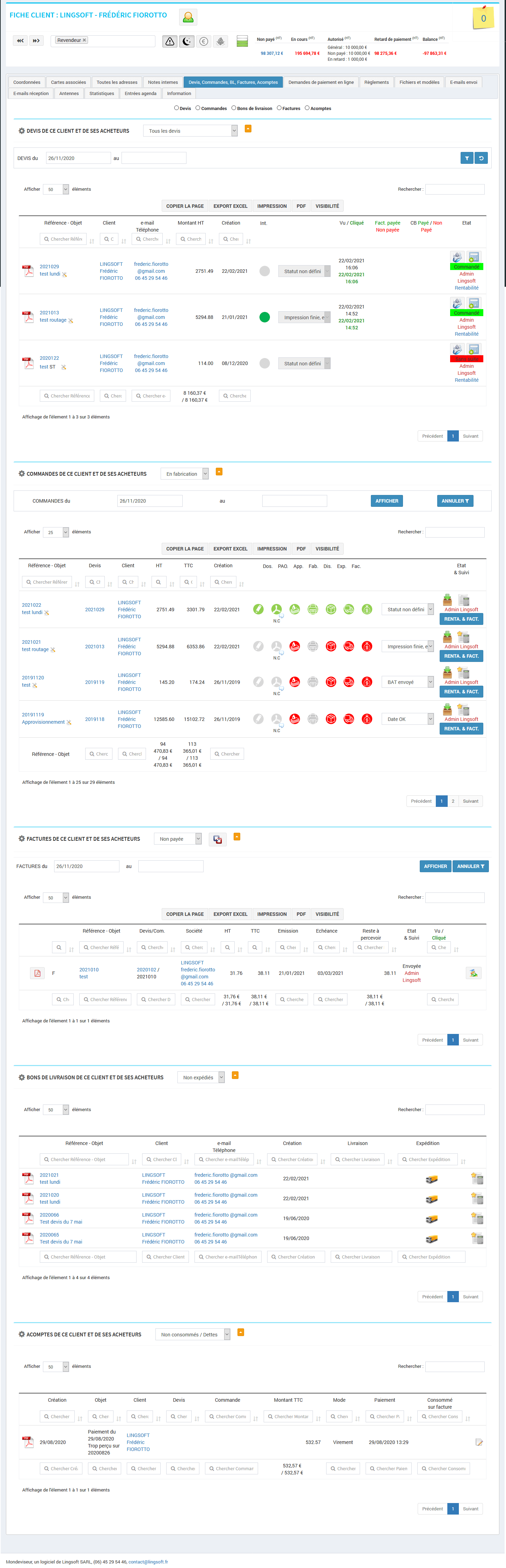 CRM - Mondeviseur - gestion des pièces client devis, commande, bl, factuares