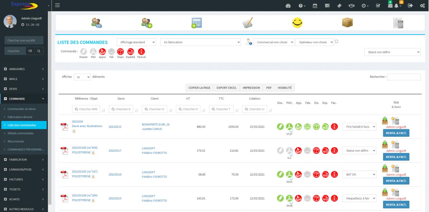 ERP - Mondeviseur : suivi des statuts des commandes