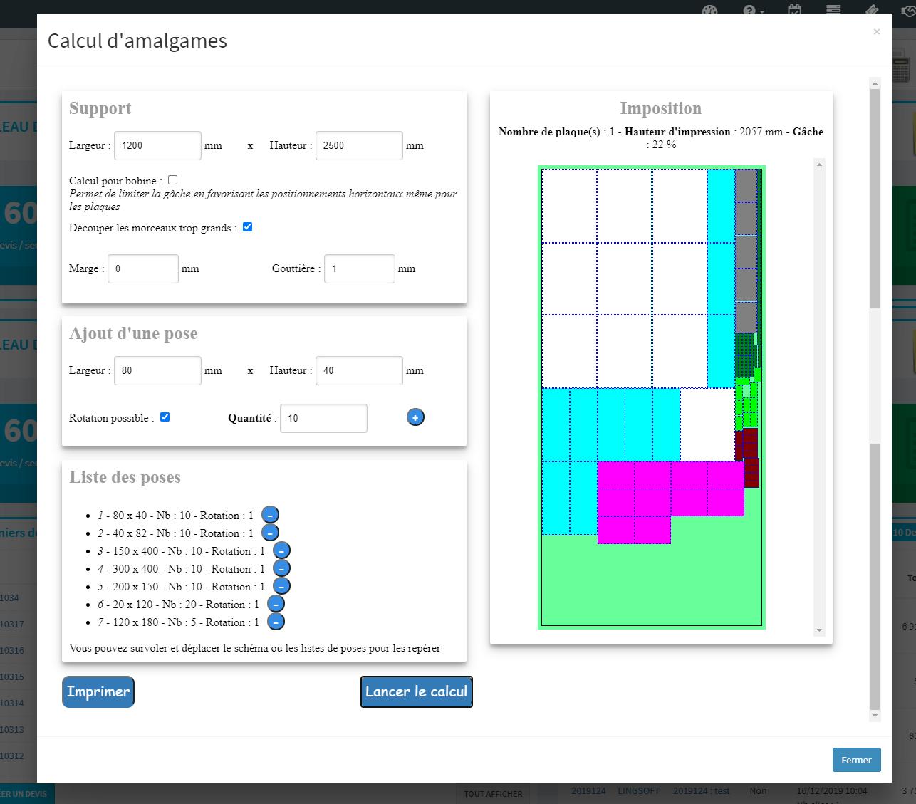 MonDeviseur : calculatrice amalgame pour impression numérique
