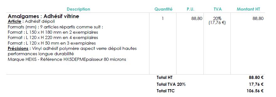 MonDeviseur : exemple de rédactionnel obtenu à partir du calculateur pour amalgame sur un devis en pdf