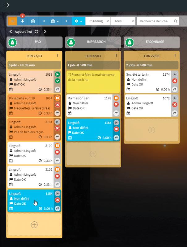 ERP Mondeviseur : gestion des temps & planning de production kanban
